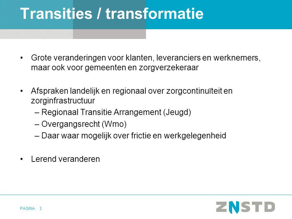 PAGINA Transities / transformatie Grote veranderingen voor klanten, leveranciers en werknemers, maar ook voor gemeenten en zorgverzekeraar Afspraken l