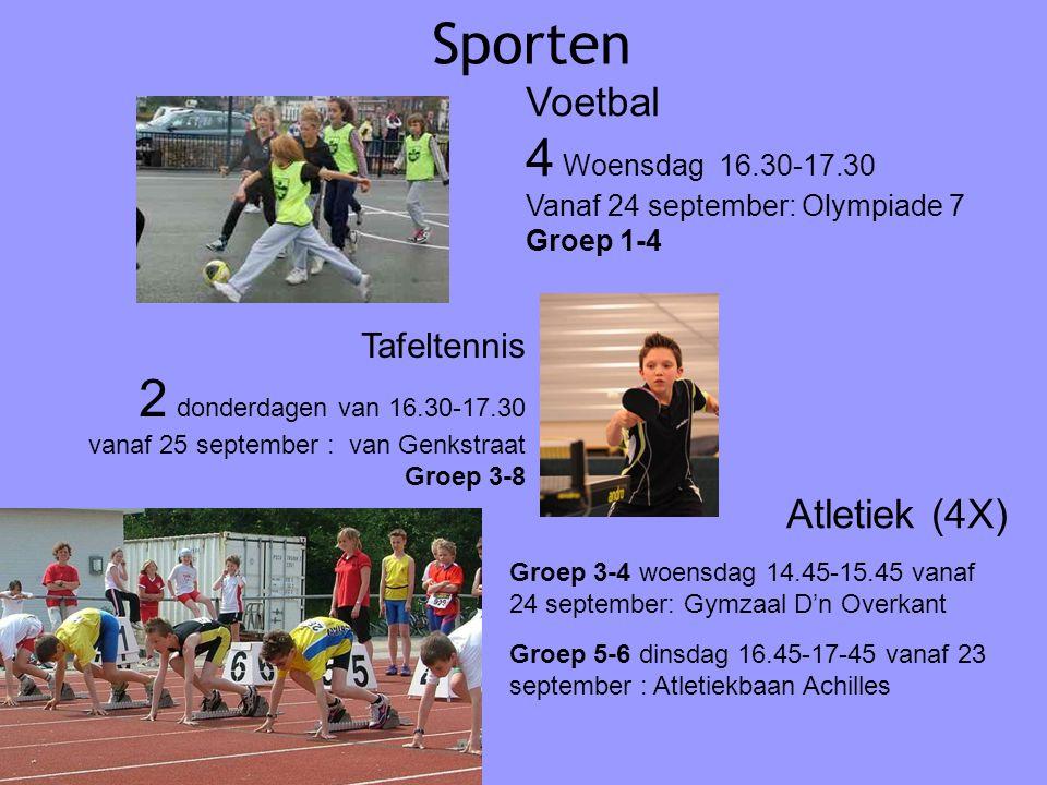 Sporten Atletiek (4X) Groep 3-4 woensdag 14.45-15.45 vanaf 24 september: Gymzaal D'n Overkant Groep 5-6 dinsdag 16.45-17-45 vanaf 23 september : Atlet