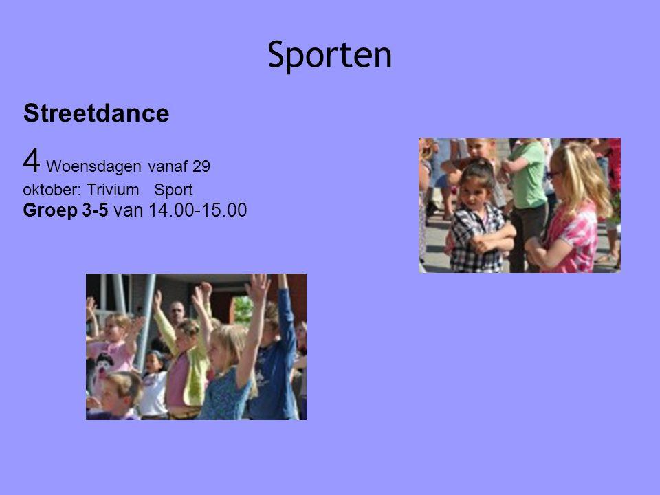 Sporten Streetdance 4 Woensdagen vanaf 29 oktober: Trivium Sport Groep 3-5 van 14.00-15.00