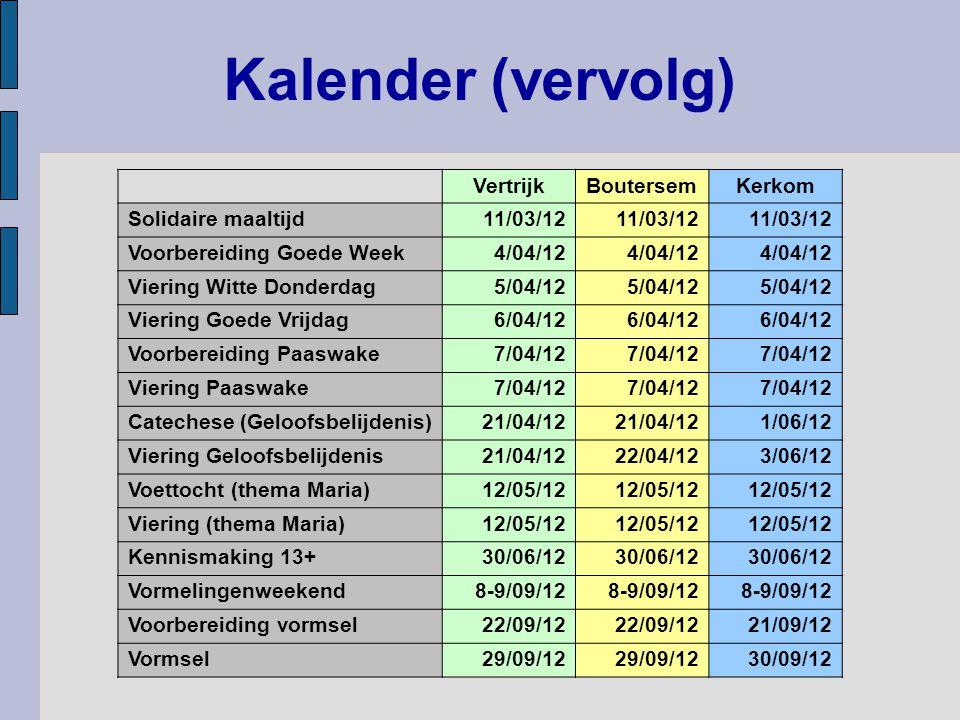 Kalender (vervolg) VertrijkBoutersemKerkom Solidaire maaltijd11/03/12 Voorbereiding Goede Week4/04/12 Viering Witte Donderdag5/04/12 Viering Goede Vrijdag6/04/12 Voorbereiding Paaswake7/04/12 Viering Paaswake7/04/12 Catechese (Geloofsbelijdenis)21/04/12 1/06/12 Viering Geloofsbelijdenis21/04/1222/04/123/06/12 Voettocht (thema Maria)12/05/12 Viering (thema Maria)12/05/12 Kennismaking 13+30/06/12 Vormelingenweekend8-9/09/12 Voorbereiding vormsel22/09/12 21/09/12 Vormsel29/09/12 30/09/12