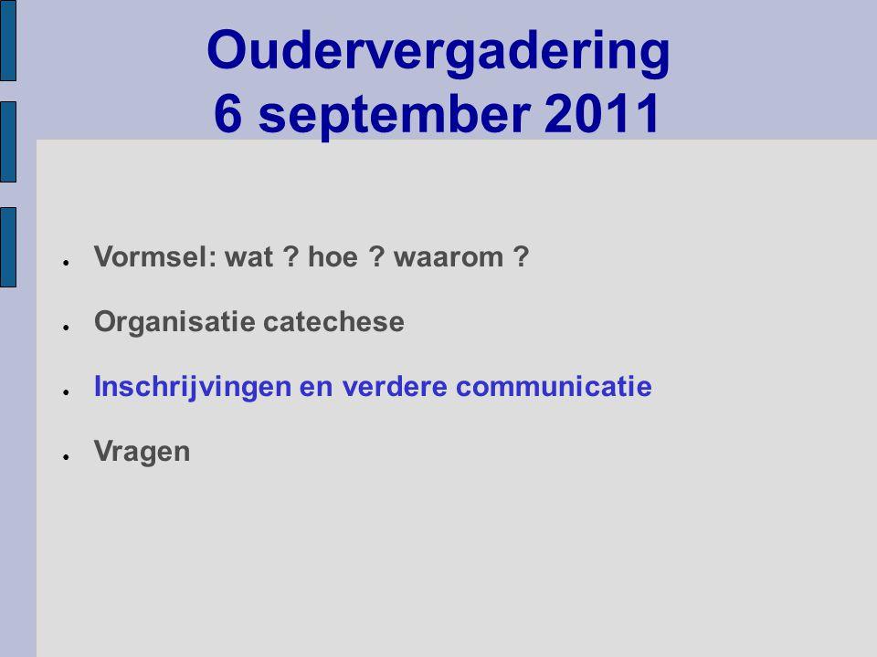 Oudervergadering 6 september 2011 ● Vormsel: wat .