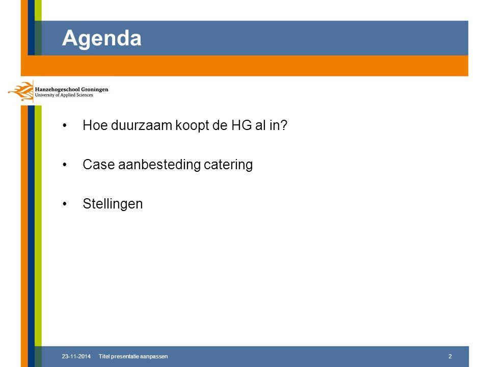 Agenda Hoe duurzaam koopt de HG al in.
