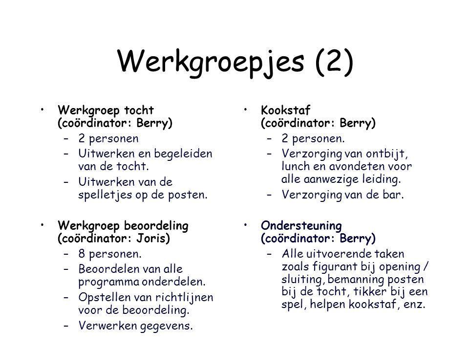 Werkgroepjes (2) Werkgroep tocht (coördinator: Berry) –2 personen –Uitwerken en begeleiden van de tocht. –Uitwerken van de spelletjes op de posten. We