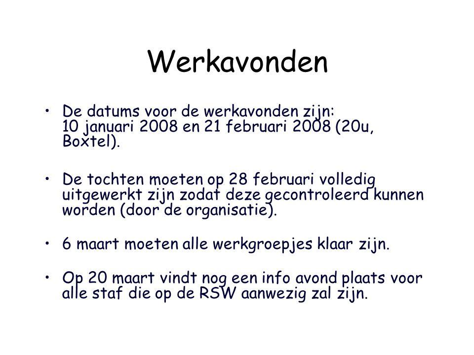 Werkavonden De datums voor de werkavonden zijn: 10 januari 2008 en 21 februari 2008 (20u, Boxtel). De tochten moeten op 28 februari volledig uitgewerk