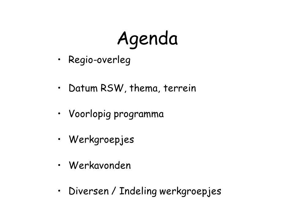 Agenda Regio-overleg Datum RSW, thema, terrein Voorlopig programma Werkgroepjes Werkavonden Diversen / Indeling werkgroepjes