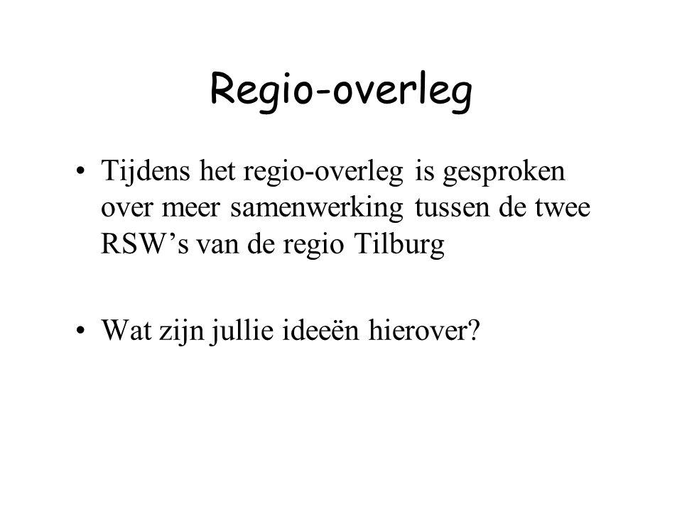 Regio-overleg Tijdens het regio-overleg is gesproken over meer samenwerking tussen de twee RSW's van de regio Tilburg Wat zijn jullie ideeën hierover?