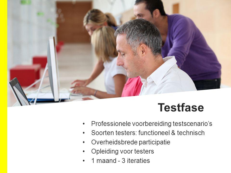 Professionele voorbereiding testscenario's Soorten testers: functioneel & technisch Overheidsbrede participatie Opleiding voor testers 1 maand - 3 iteraties Testfase