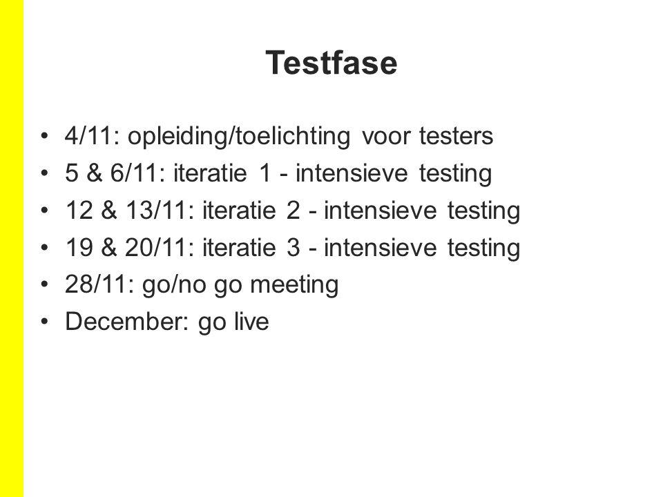 4/11: opleiding/toelichting voor testers 5 & 6/11: iteratie 1 - intensieve testing 12 & 13/11: iteratie 2 - intensieve testing 19 & 20/11: iteratie 3 - intensieve testing 28/11: go/no go meeting December: go live