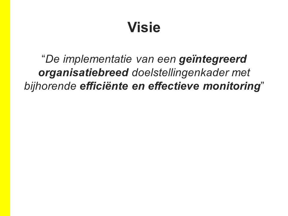 Visie De implementatie van een geïntegreerd organisatiebreed doelstellingenkader met bijhorende efficiënte en effectieve monitoring