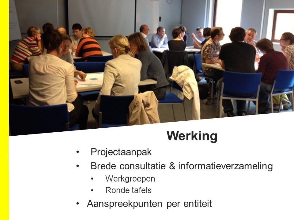 Werking Projectaanpak Brede consultatie & informatieverzameling Werkgroepen Ronde tafels Aanspreekpunten per entiteit