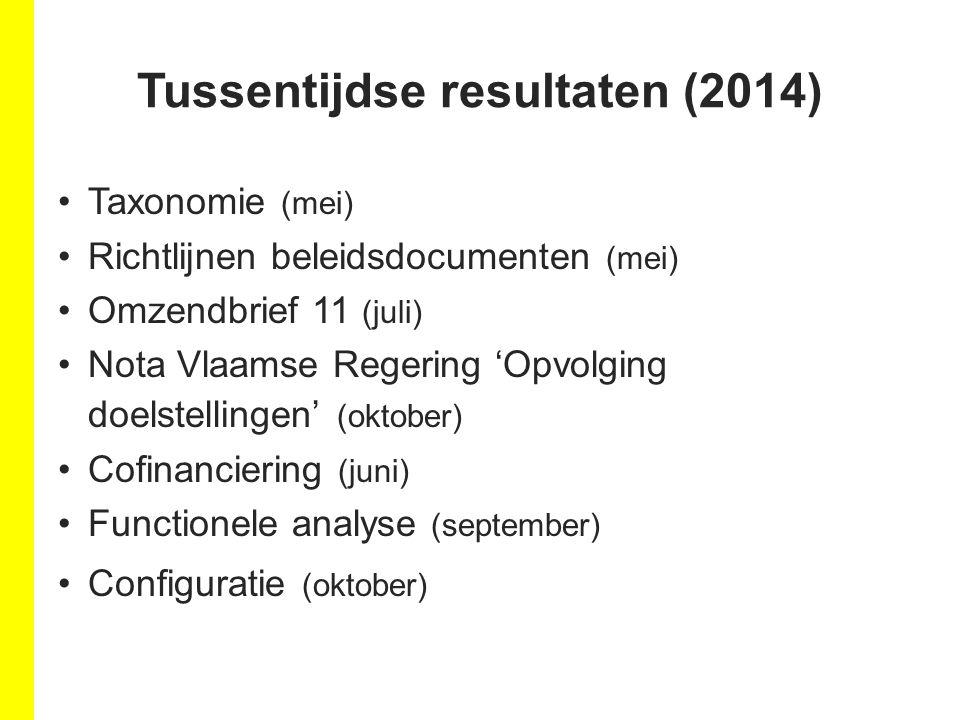 Tussentijdse resultaten (2014) Taxonomie (mei) Richtlijnen beleidsdocumenten (mei) Omzendbrief 11 (juli) Nota Vlaamse Regering 'Opvolging doelstellingen' (oktober) Cofinanciering (juni) Functionele analyse (september) Configuratie (oktober)