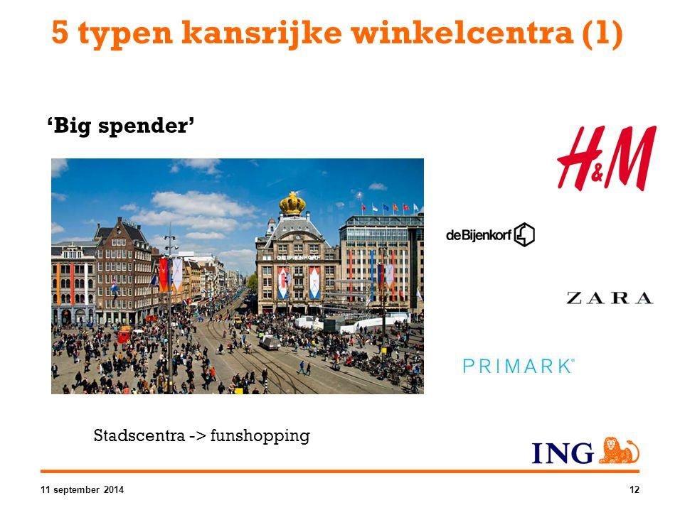 5 typen kansrijke winkelcentra (1) 'Big spender' Stadscentra -> funshopping 11 september 201412
