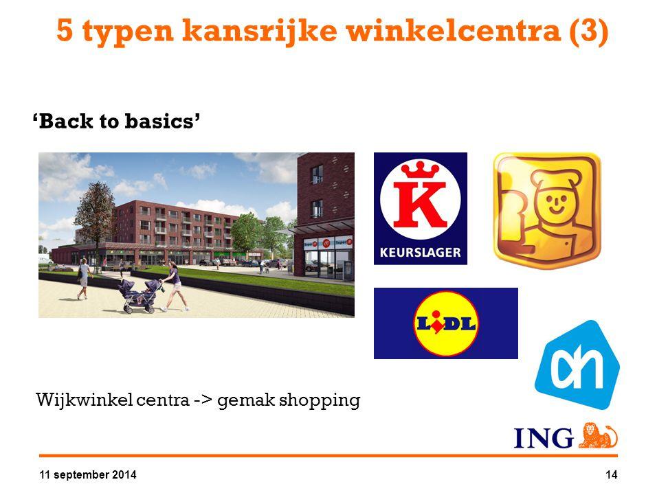 5 typen kansrijke winkelcentra (3) 'Back to basics' Wijkwinkel centra -> gemak shopping 11 september 201414