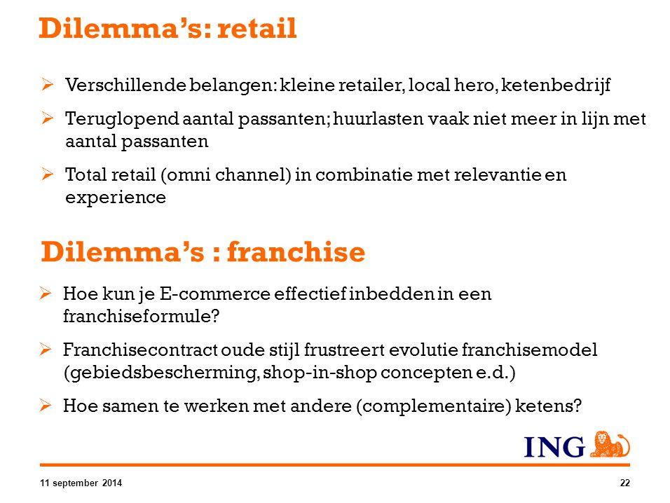 Dilemma's : franchise  Hoe kun je E-commerce effectief inbedden in een franchiseformule?  Franchisecontract oude stijl frustreert evolutie franchise