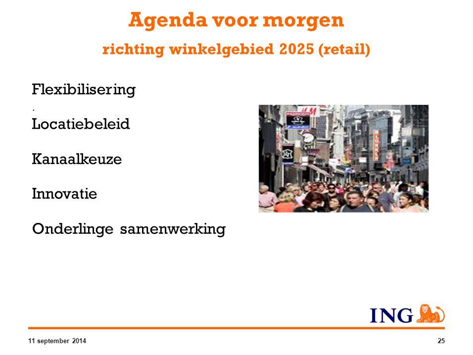 Flexibilisering. Locatiebeleid Kanaalkeuze Innovatie Onderlinge samenwerking Agenda voor morgen richting winkelgebied 2025 (retail) 11 september 20142