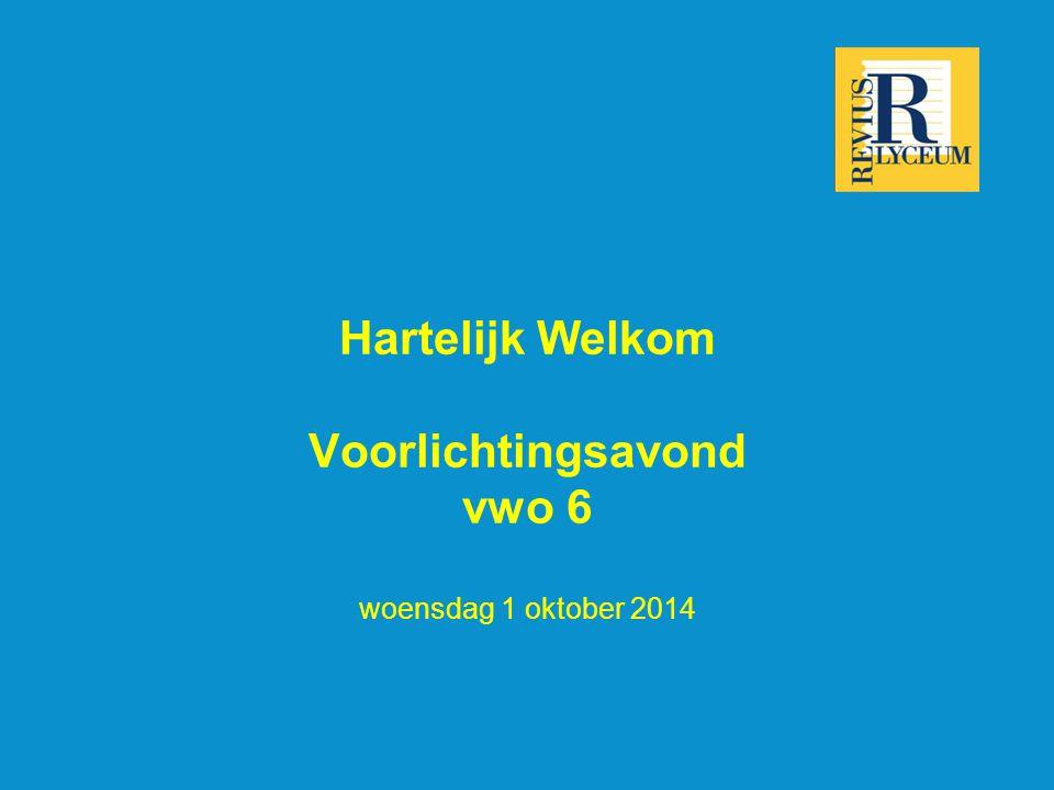Hartelijk Welkom Voorlichtingsavond vwo 6 woensdag 1 oktober 2014