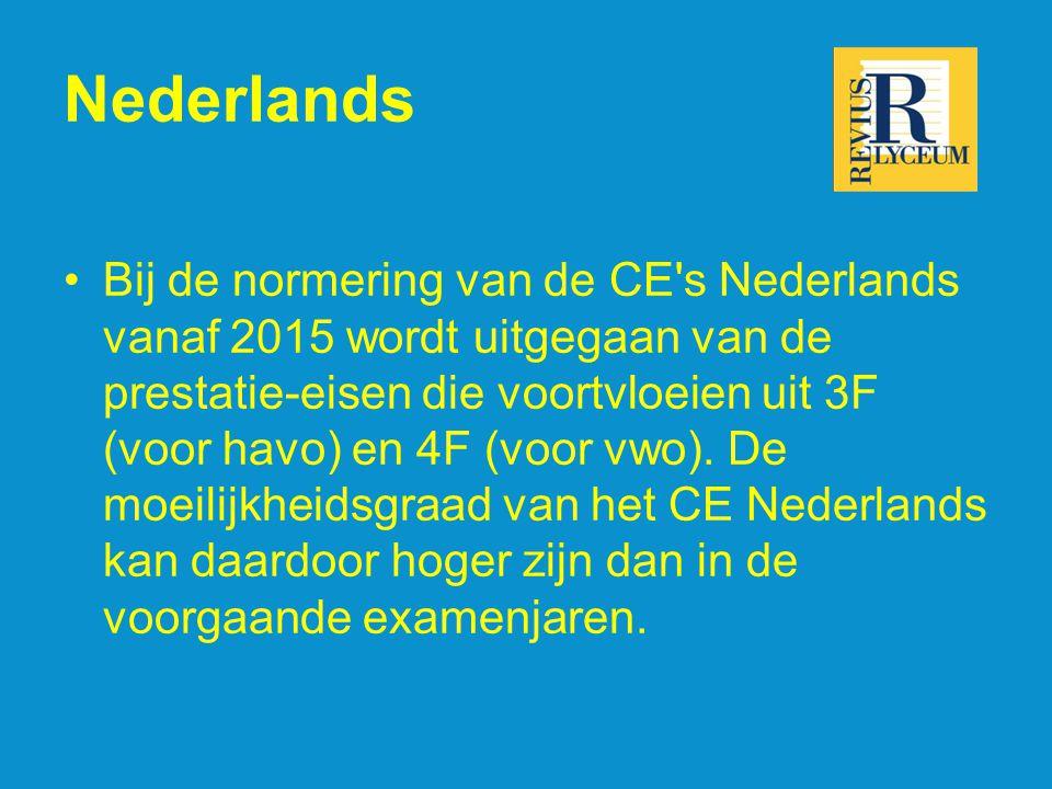 Nederlands Bij de normering van de CE s Nederlands vanaf 2015 wordt uitgegaan van de prestatie-eisen die voortvloeien uit 3F (voor havo) en 4F (voor vwo).