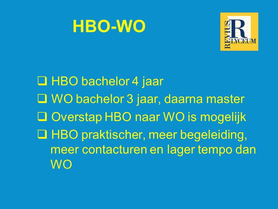HBO-WO  HBO bachelor 4 jaar  WO bachelor 3 jaar, daarna master  Overstap HBO naar WO is mogelijk  HBO praktischer, meer begeleiding, meer contacturen en lager tempo dan WO