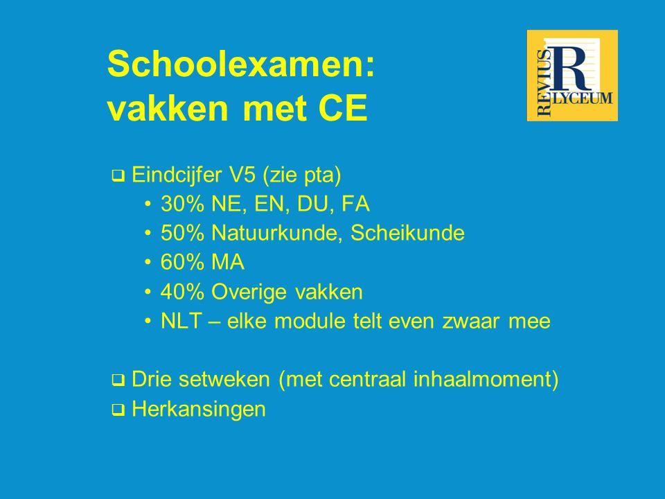 Schoolexamen: vakken met CE  Eindcijfer V5 (zie pta) 30% NE, EN, DU, FA 50% Natuurkunde, Scheikunde 60% MA 40% Overige vakken NLT – elke module telt even zwaar mee  Drie setweken (met centraal inhaalmoment)  Herkansingen