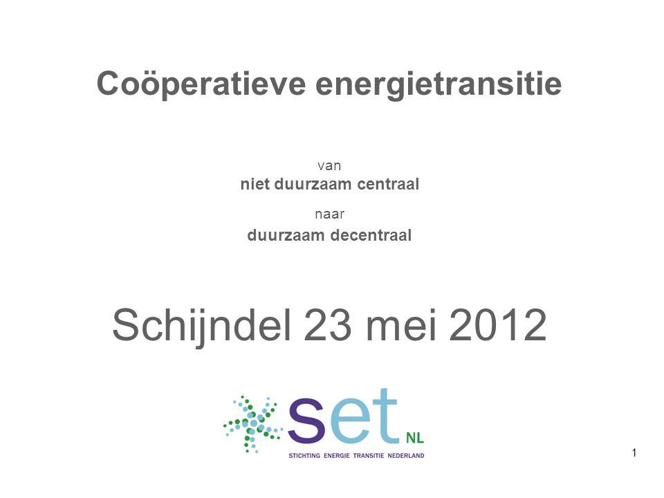Coöperatieve energietransitie van niet duurzaam centraal naar duurzaam decentraal Schijndel 23 mei 2012 1