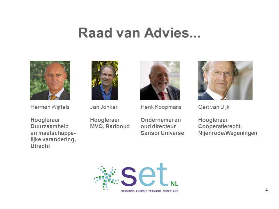 Raad van Advies... Herman Wijffels Hoogleraar Duurzaamheid en maatschappe- lijke verandering, Utrecht Jan Jonker Hoogleraar MVO, Radboud Henk Koopmans