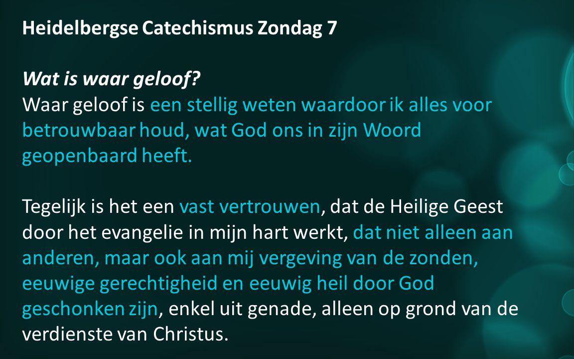Heidelbergse Catechismus Zondag 7 Wat is waar geloof.