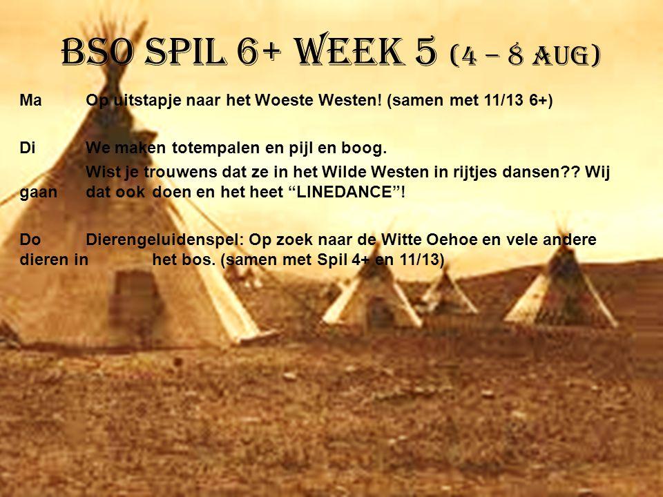 BSO Spil 6+ week 5 (4 – 8 aug) MaOp uitstapje naar het Woeste Westen! (samen met 11/13 6+) DiWe maken totempalen en pijl en boog. Wist je trouwens dat