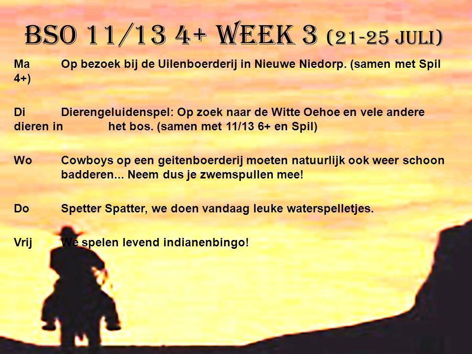 BSO 11/13 4+ week 3 (21-25 juli) Ma Op bezoek bij de Uilenboerderij in Nieuwe Niedorp. (samen met Spil 4+) DiDierengeluidenspel: Op zoek naar de Witte