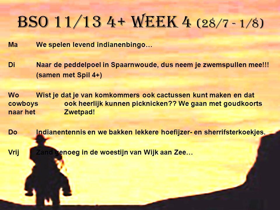 BSO 11/13 4+ week 4 (28/7 - 1/8) MaWe spelen levend indianenbingo… DiNaar de peddelpoel in Spaarnwoude, dus neem je zwemspullen mee!!! (samen met Spil
