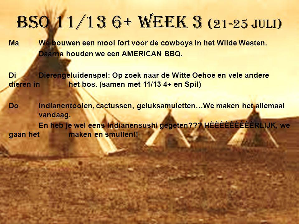 BSO 11/13 6+ week 3 (21-25 juli) MaWe bouwen een mooi fort voor de cowboys in het Wilde Westen. Daarna houden we een AMERICAN BBQ. DiDierengeluidenspe