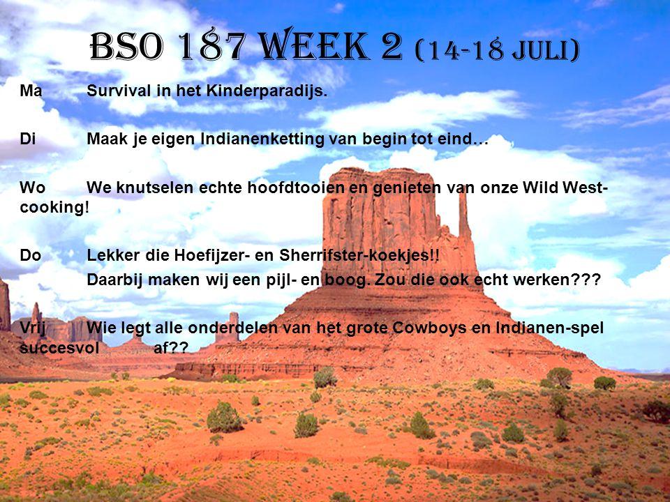 BSO 187 week 2 (14-18 juli) MaSurvival in het Kinderparadijs. DiMaak je eigen Indianenketting van begin tot eind… WoWe knutselen echte hoofdtooien en