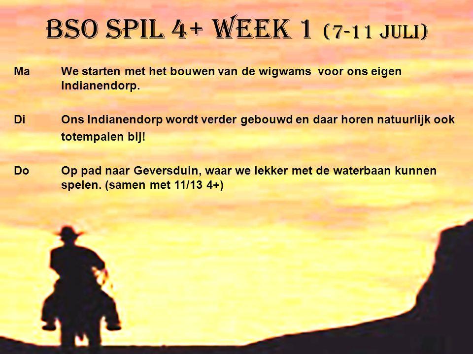 BSO Spil 4+ week 1 (7-11 juli) Ma We starten met het bouwen van de wigwams voor ons eigen Indianendorp. Di Ons Indianendorp wordt verder gebouwd en da