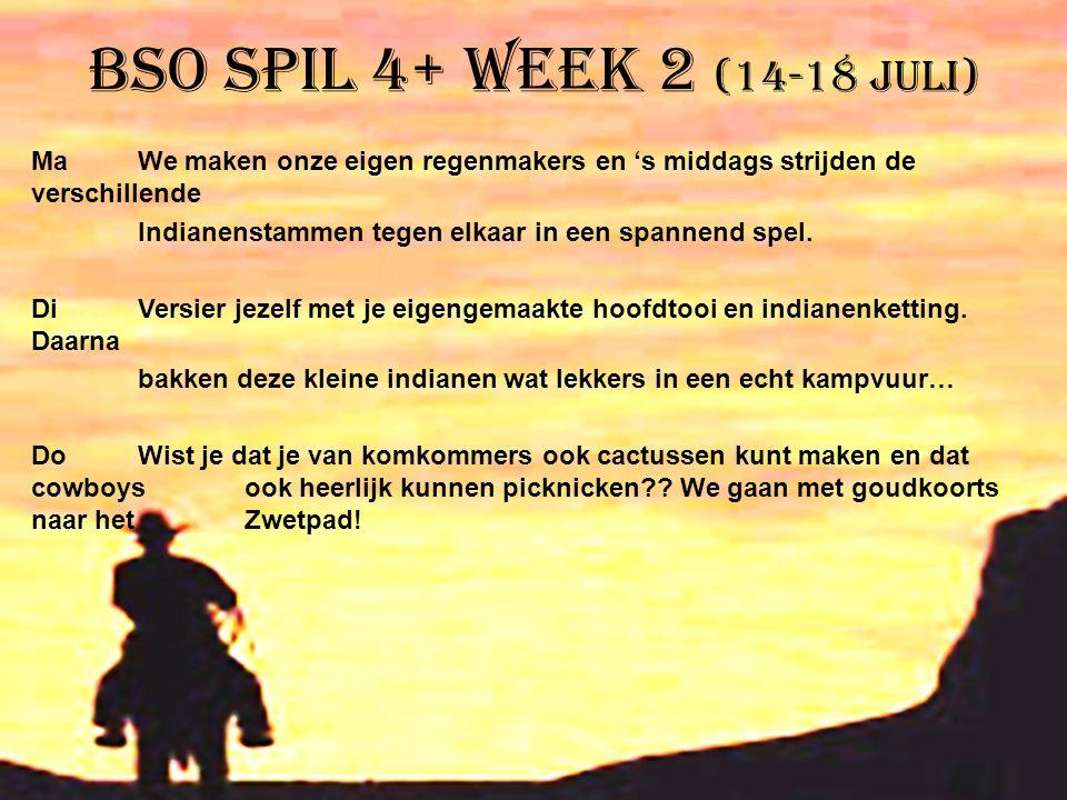 BSO Spil 4+ week 2 (14-18 juli) MaWe maken onze eigen regenmakers en 's middags strijden de verschillende Indianenstammen tegen elkaar in een spannend