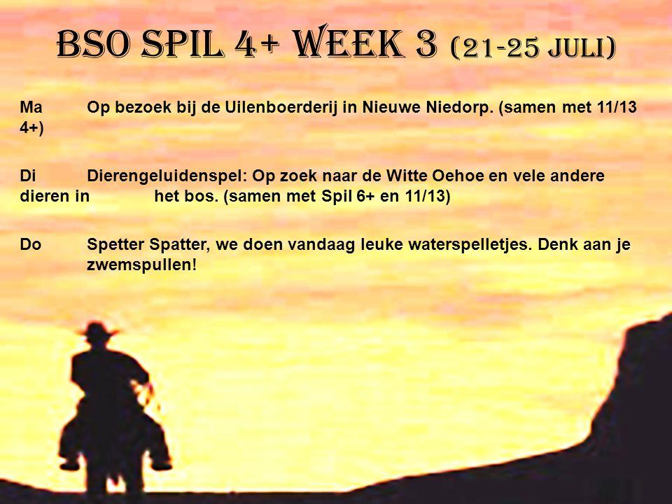 BSO Spil 4+ week 3 (21-25 juli) Ma Op bezoek bij de Uilenboerderij in Nieuwe Niedorp. (samen met 11/13 4+) DiDierengeluidenspel: Op zoek naar de Witte