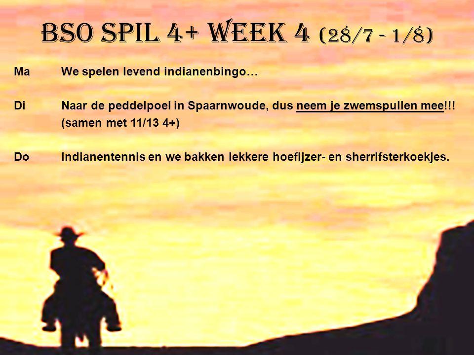 BSO Spil 4+ week 4 (28/7 - 1/8) MaWe spelen levend indianenbingo… DiNaar de peddelpoel in Spaarnwoude, dus neem je zwemspullen mee!!! (samen met 11/13