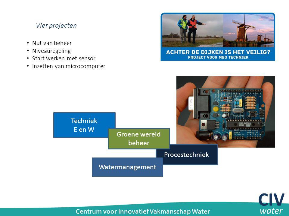 Vier projecten Techniek E en W Procestechniek Groene wereld beheer Watermanagement Nut van beheer Niveauregeling Start werken met sensor Inzetten van