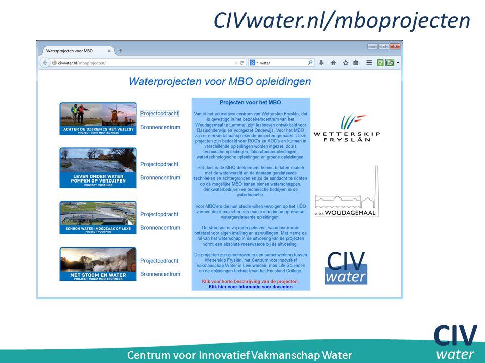 CIVwater.nl/mboprojecten CIV water Centrum voor Innovatief Vakmanschap Water
