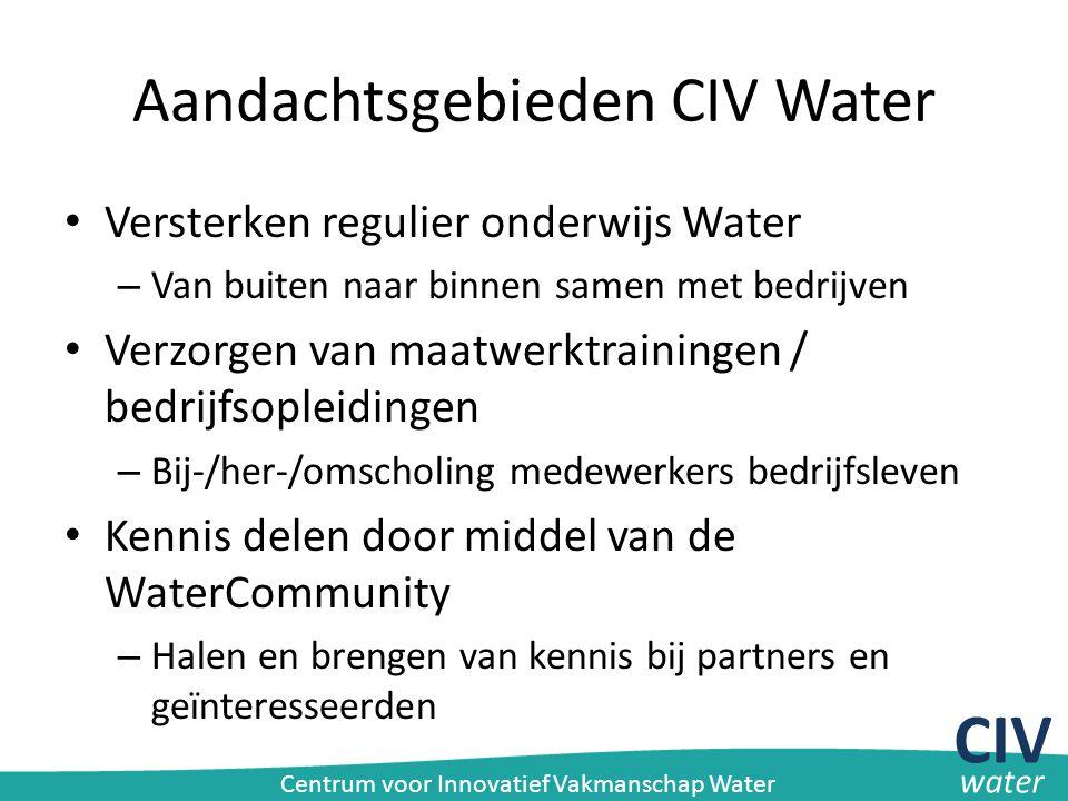 Aandachtsgebieden CIV Water Versterken regulier onderwijs Water – Van buiten naar binnen samen met bedrijven Verzorgen van maatwerktrainingen / bedrij