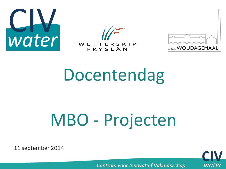 CIV Centrum voor Innovatief Vakmanschap water Docentendag MBO - Projecten 11 september 2014