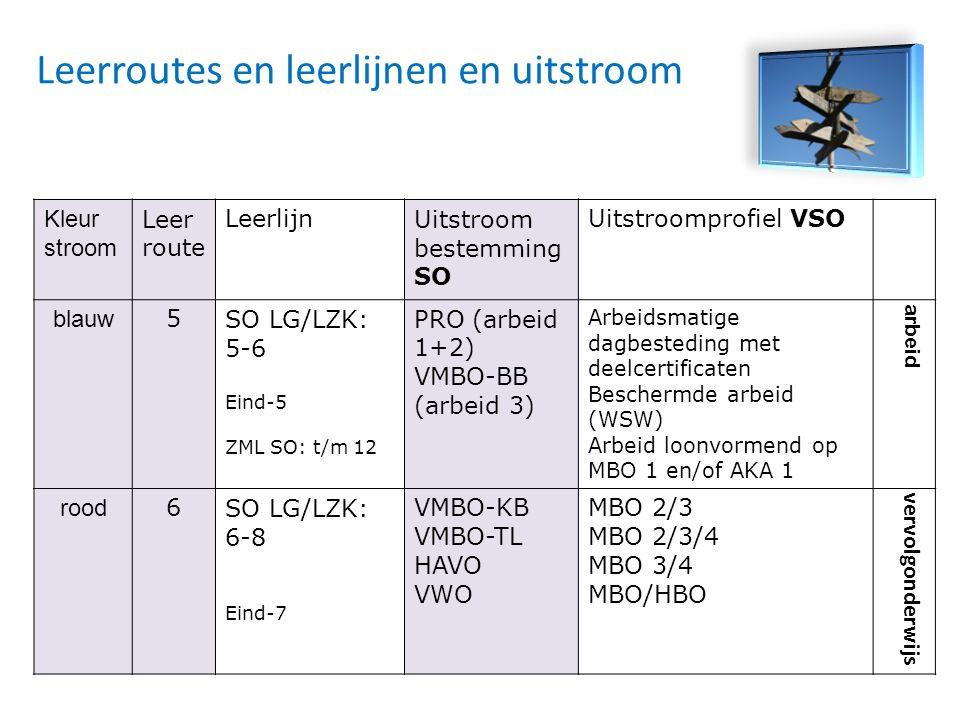 Kleur stroom Leer route LeerlijnUitstroom bestemming SO Uitstroomprofiel VSO blauw 5SO LG/LZK: 5-6 Eind-5 ZML SO: t/m 12 PRO (arbeid 1+2) VMBO-BB (arb