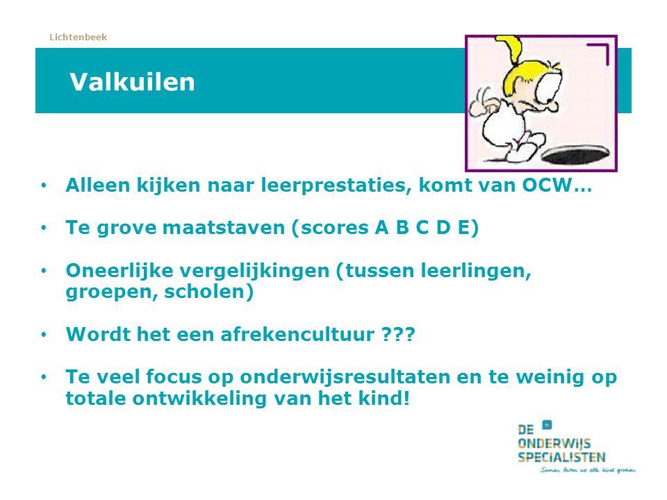 Lichtenbeek Valkuilen Alleen kijken naar leerprestaties, komt van OCW… Te grove maatstaven (scores A B C D E) Oneerlijke vergelijkingen (tussen leerli