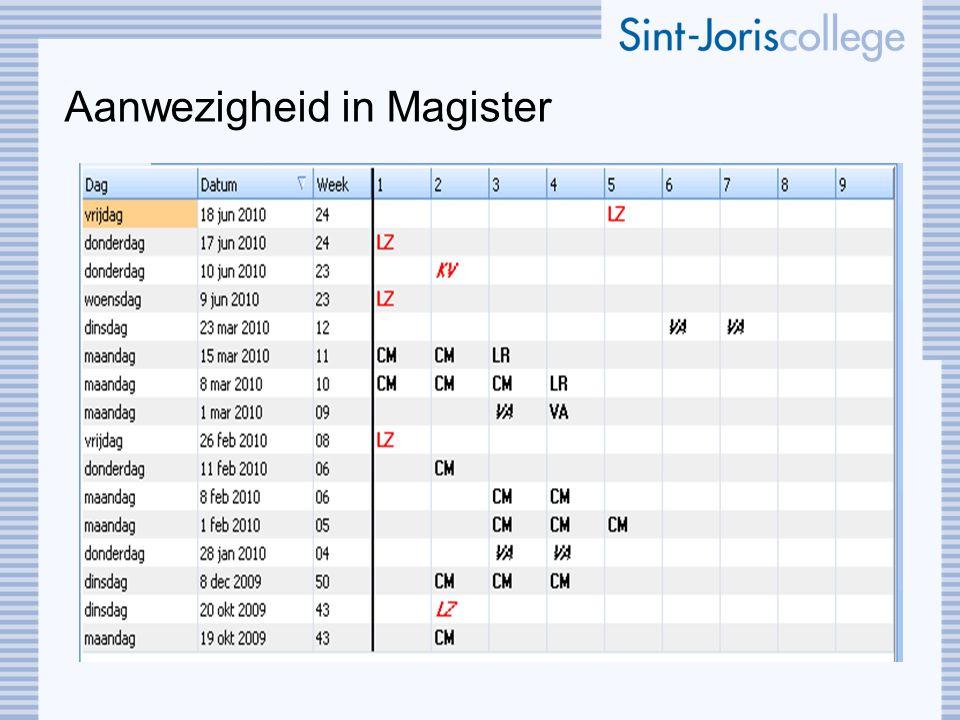 Aanwezigheid in Magister