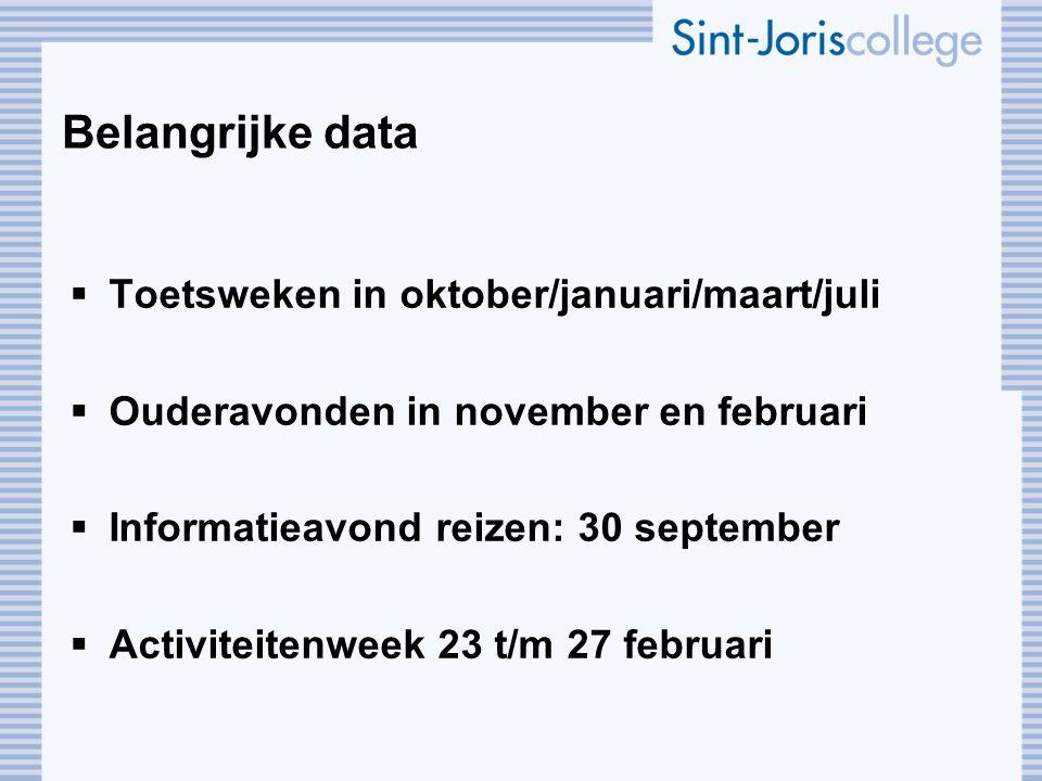 Belangrijke data  Toetsweken in oktober/januari/maart/juli  Ouderavonden in november en februari  Informatieavond reizen: 30 september  Activiteit
