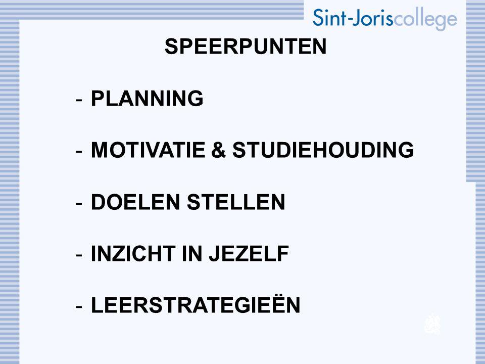 SPEERPUNTEN -PLANNING -MOTIVATIE & STUDIEHOUDING -DOELEN STELLEN -INZICHT IN JEZELF -LEERSTRATEGIEËN