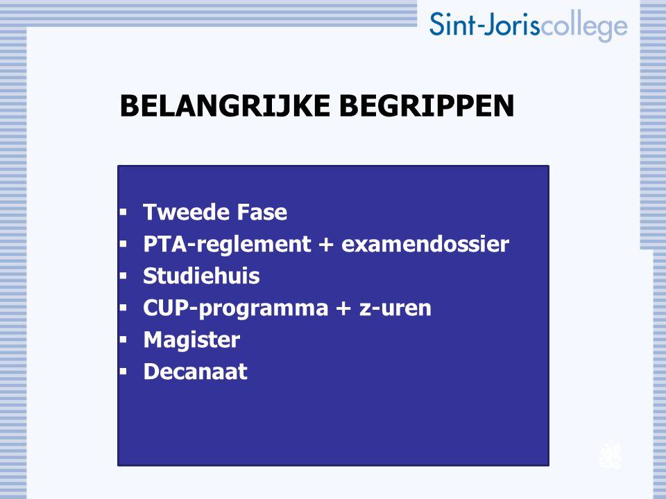 BELANGRIJKE BEGRIPPEN  Tweede Fase  PTA-reglement + examendossier  Studiehuis  CUP-programma + z-uren  Magister  Decanaat