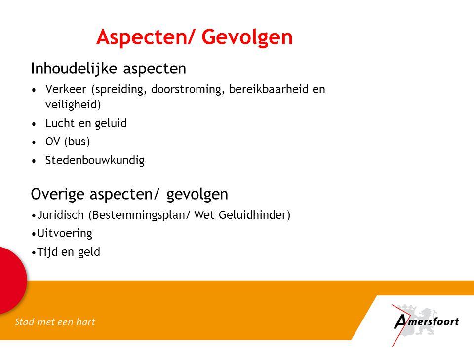 Aspecten/ Gevolgen Inhoudelijke aspecten Verkeer (spreiding, doorstroming, bereikbaarheid en veiligheid) Lucht en geluid OV (bus) Stedenbouwkundig Ove