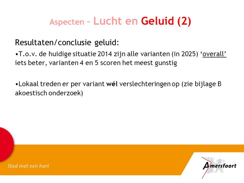 Aspecten – Lucht en Geluid (2) Resultaten/conclusie geluid: T.o.v.