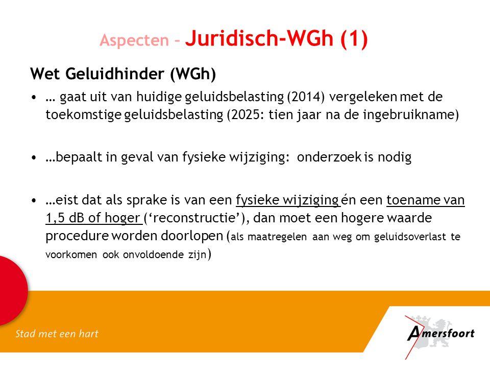 Aspecten – Juridisch-WGh (1) Wet Geluidhinder (WGh) … gaat uit van huidige geluidsbelasting (2014) vergeleken met de toekomstige geluidsbelasting (2025: tien jaar na de ingebruikname) …bepaalt in geval van fysieke wijziging: onderzoek is nodig …eist dat als sprake is van een fysieke wijziging én een toename van 1,5 dB of hoger ('reconstructie'), dan moet een hogere waarde procedure worden doorlopen ( als maatregelen aan weg om geluidsoverlast te voorkomen ook onvoldoende zijn )