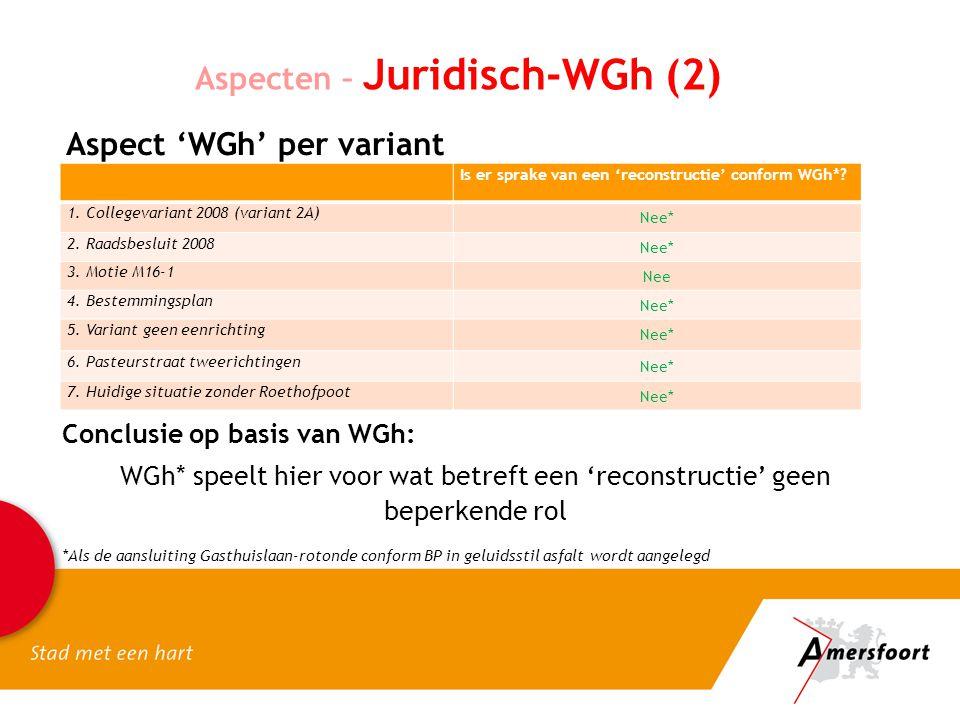 Aspecten – Juridisch-WGh (2) Aspect 'WGh' per variant Is er sprake van een 'reconstructie' conform WGh*.