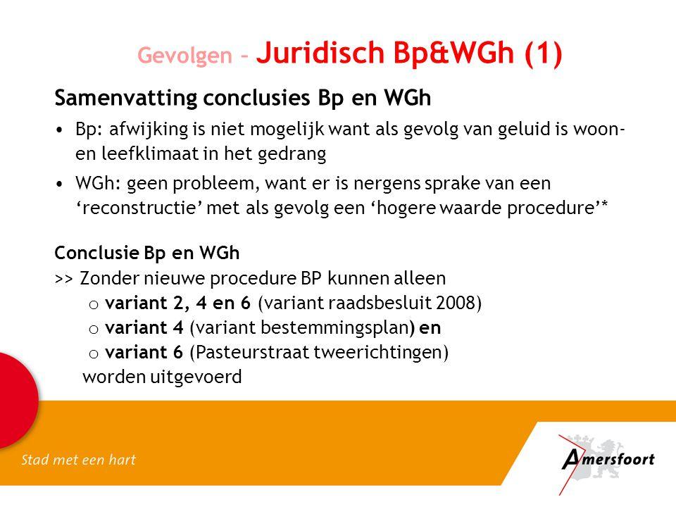 Gevolgen – Juridisch Bp&WGh (1) Samenvatting conclusies Bp en WGh Bp: afwijking is niet mogelijk want als gevolg van geluid is woon- en leefklimaat in het gedrang WGh: geen probleem, want er is nergens sprake van een 'reconstructie' met als gevolg een 'hogere waarde procedure'* Conclusie Bp en WGh >> Zonder nieuwe procedure BP kunnen alleen o variant 2, 4 en 6 (variant raadsbesluit 2008) o variant 4 (variant bestemmingsplan) en o variant 6 (Pasteurstraat tweerichtingen) worden uitgevoerd